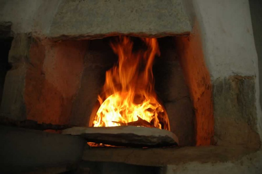 traditional wood-fired stone oven