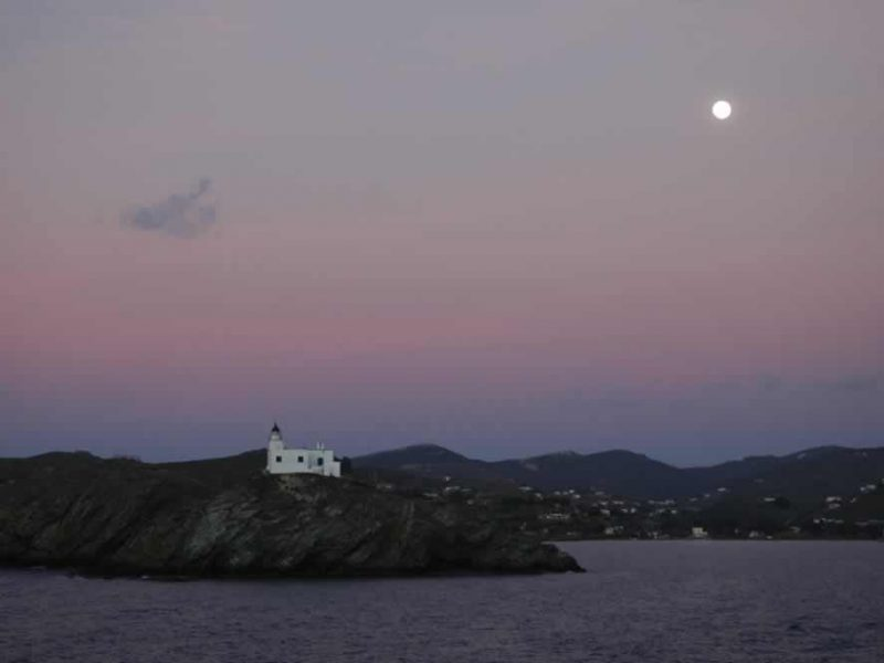Beautiful sunset in Kea island Greece